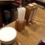 壱刻 - テーブル備え付けの塩、黒七味と一味