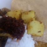アチャラナータ - ・サンボール(モルディブフィッシュ)、ジャガイモのスパイス炒め、パパダム、ライス