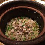 菜な - nanamiyamasu:土鍋飯。「丹波黒鶏と生姜ご飯」