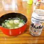 58032425 - ツミレ鍋 & 冷たい缶ビール