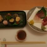 花の祥 - 料理写真:前菜とちょっと食べた刺身
