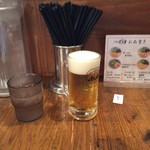 元祖博多だるま - ビール小ジョッキ。ほんとに小さかった。