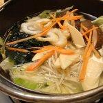 5805011 - 京野菜ちゃんこ鍋 3人鍋 スタート時点の状態