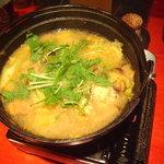 夢来鳥 - 地鶏の味噌鍋 1300円 冬限定の人気のなべです。