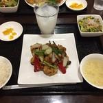 中華食堂凛々 - 料理写真:Cセット(ぷりぷりエビと野菜の醤油炒め)