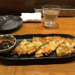 58062142 - コチュジョン!青唐辛子のチヂミ(^O^)ピリッと辛くて美味しい!!