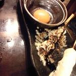喜三郎農場 - つくね3種盛り合わせ(タルタル・チーズ・黄身)