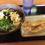 こがね製麺所 - 温玉ぶっかけ + ゲソ天