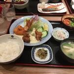 天神 わっぱ定食堂 - エビフライ&チキン南蛮定食 1150円(税込)