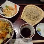 手打そば 一の梅 - 料理写真:◆「穴子天丼セット(1180円)・・穴子天丼・ハーフサイズのお蕎麦・サラダのセット。