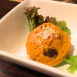 欧風カレー ソレイユ - 前菜の月替わりサラダもまた楽しみのひとつ 2016年10月はハロウィンでかぼちゃサラダ