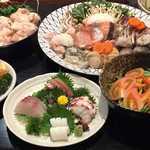 もつ鍋らく - もつ鍋と海鮮鍋コース