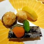 こころぎ - 揚げ物 海老真薯、椎茸包み揚げ、茄子、青唐、レモン、紅玉