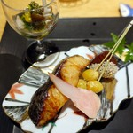 58096307 - 鰆柚香焼、はじかみ、菊花と木の子、どんぶり、酢浸し、栗渋皮煮、揚銀杏