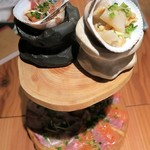 貝と魚と炉ばたのバンビ - 藁薫るスモークカルパッチョ¥1380