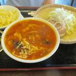58098848 - 「酸辣湯麺つけ麺+半炒飯」(800円)