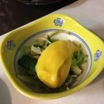 おか - 温泉豆腐コース 小鉢 水菜とえのきの黄身味噌?