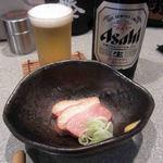 豊吉 - お通しの鴨肉の燻製