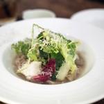 モルソー - トリップの白ワイン煮 香味野菜を添えて