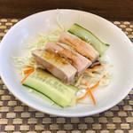 中国酒家 菜都 - 前菜の蒸し鶏 ※麻婆豆腐ランチに含まれています 2016年10月