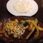 牛舎 - とろーりチーズの焼きカレーハンバーグ、ライス