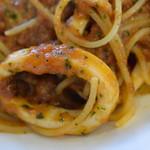 manma cafe - するめいかとバジルトマトソースのスパゲティ