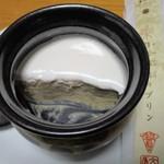 銀座文明堂 - 日之影栗のプリン(半分食べたところ)