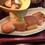 58153218 - さつま揚げ・こが焼(魚のすり身の入った玉子焼)・黒豚の味噌焼き