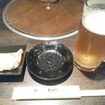 たなべ - ドリンク写真:生ビールと付け出し