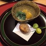 58164314 - 柿酢の物                       菊菜胡麻和え                       栗と銀杏揚げ