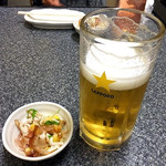 みやこや - 生ビール(3口飲みました)& お通し(2016年10月)