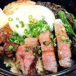カトーズ ダイニングアンドバー - KATO'S DINING & BAR @赤坂見附 江戸 Premium 黒毛和牛ステーキ丼 こんなに柔らかい食感の牛ステーキを頂くの初めて~