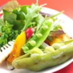 七条ツキトカゲ - 季節野菜やサラダは常時5種ほど。380円から