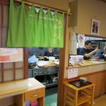 玉喜亭 - この暖簾の向こうが仕事場。