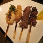 わのみせ - 梅ささみ・正肉・砂肝・レバー(各¥180−)