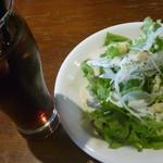 cafe&dining nurikabe - 肉厚岩中豚のポークジンジャーのサラダとアイスコーヒー