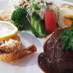 食事&喫茶 峰 - エビとハンバーグ&ライス