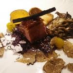 オステリア インクローチ - 牛蒡、さつま芋、銀杏、キノコ、トリュフ等、季節感あるお料理♪       鴨のローストの下はリゾット♪