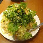 八丁堀 もつ千 - スペシャリテな料理の見た目感全開なパクチー炒飯499円が着皿!