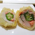 カウンターお野菜天ぷら mego - 明太クリームオクラ鶏ササミ
