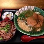 瀬戸内製麺710 - ひやあつきつね月見うどん&牛めし