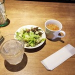 58252360 - ランチにつくおかわり自由のスープとサラダ