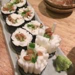 鳥臣 - 山芋DEのり巻き(納豆)¥480 お寿司みたい                             さっぱり旨い