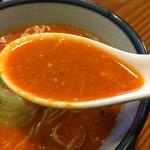 58266854 - 辛さの中にも旨味ありありスープ。胡麻と魚介の担々スープ