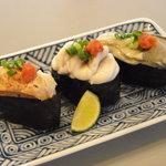 丸清寿司 - 旬の3貫盛り(冬)