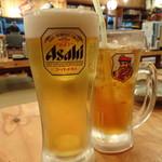 浜焼太郎 - 中ジョッキ(420円)と烏龍茶(190円)