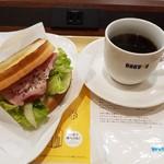 ドトールコーヒーショップ - ハムタマゴサラダセット・アメリカンコーヒー(390円)です。
