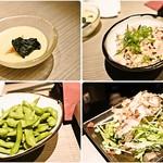 58280267 - 左上から時計回りに茶碗蒸しもどき、鶏皮ポン酢、野菜サラダ、冷凍枝豆。