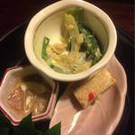 祢保希 - 前菜三種(半分くらい食べた後)クエちり鍋コース ¥11,000