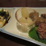居酒屋かたつむり - 地産地消セット(らっきょう、あご竹輪、長芋短冊、イカ麹漬)